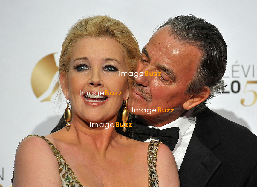 CPE/June 13, 2013-Melody Scott Thomas and Eric Braeden pose during the closing ceremony of the 2013 Monte Carlo Television Festival. Golden Nymph Awards Photocall.