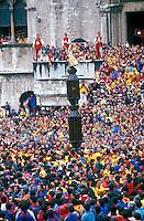 Gubbio 15 MAY 1998..Festival of the Ceri..The raising, ?Alzata? of the Ceri  the morning..The Cero  of St Ubaldo....http://www.ceri.it/ceri_eng/index.htm..