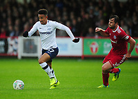 Preston North End's Callum Robinson under pressure from Accrington Stanley's Mark Hughes<br /> <br /> Photographer Kevin Barnes/CameraSport<br /> <br /> The Carabao Cup - Accrington Stanley v Preston North End - Tuesday 8th August 2017 - Crown Ground - Accrington<br />  <br /> World Copyright &copy; 2017 CameraSport. All rights reserved. 43 Linden Ave. Countesthorpe. Leicester. England. LE8 5PG - Tel: +44 (0) 116 277 4147 - admin@camerasport.com - www.camerasport.com