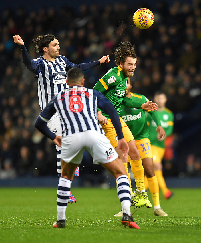 Preston North End's Ben Pearson in action <br /> <br /> Photographer Dave Howarth/CameraSport<br /> <br /> The EFL Sky Bet Championship - West Bromwich Albion v Preston North End - Tuesday 25th February 2020 - The Hawthorns - West Bromwich<br /> <br /> World Copyright © 2020 CameraSport. All rights reserved. 43 Linden Ave. Countesthorpe. Leicester. England. LE8 5PG - Tel: +44 (0) 116 277 4147 - admin@camerasport.com - www.camerasport.com