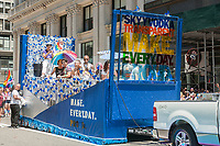 Skyy Vodka float in the annual Lesbian, Gay, Bisexual,Transgender and Queer (LGBTQ) Pride Parade on Fifth Avenue in New York on Sunday, June 25, 2017. Besides the corporate sponsors, politicians and various social service groups many participants carried political themed signs showing their dissatisfaction with President Trump. (© Richard B. Levine)