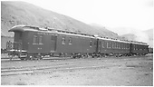 Business cars B-1 (2nd), B-2 (2nd), and B-3 (2nd) in Salida, CO.<br /> D&amp;RGW  Salida, CO  Taken by Axt, Vernon - 7/1938