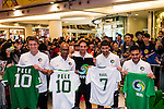 New York Cosmos players Andrés Flores, Raúl Gonzalez, Marcos Senna, Carlos Mendes and Mads Stokkelien attend autograph session at APM Kwon Tong mall on 16 February 2015 in Hong Kong, China. Photo by Xaume OIleros / Power Sport Images