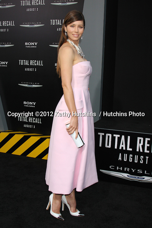 "LOS ANGELES - AUG 1:  Jessica Biel arrives at the ""Total Recall"" Premiere at Graumans Chinese Theater on August 1, 2012 in Los Angeles, CA"