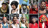 Berlin, Die Bildkombo zeigt am Sonntag (19.05.13) in Berlin Teilnehmer des traditionellen Strassenumzugs des Karnevals der Kulturen. Der Umzug bildet den Hoehepunkt eines viertaegigen Strassenfestes. Foto: Maja Hitij/CommonLens