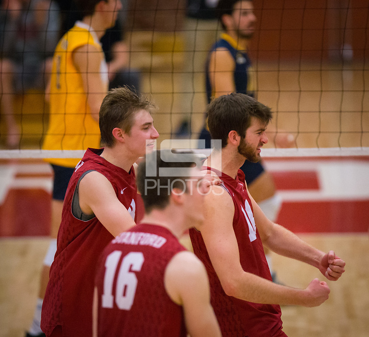 STANFORD, CA - March 10, 2018: Leo Henken, Kyler Presho, Matt Klassen at Burnham Pavilion. UC Irvine defeated the Stanford Cardinal, 3-0.