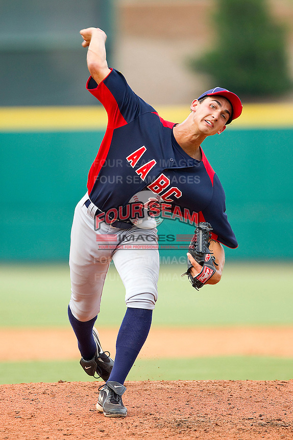 Chase Dejong #12 of AABC in action against Babe Ruth at the 2011 Tournament of Stars at the USA Baseball National Training Center on June 26, 2011 in Cary, North Carolina.  Babe Ruth defeated AABC 3-2 in the Gold Medal game. (Brian Westerholt/Four Seam Images)