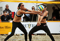 NZ's Anna Scarlett and Susan Blundell during the 2009 McEntee Hire NZ Beach Volleyball Tour - Women's final at Oriental Parade, Wellington, New Zealand on Sunday, 11 January 2009. Photo: Dave Lintott / lintottphoto.co.nz.