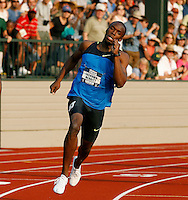 LaShawn Merritt of Nike ran 44.76sec. in the semi-finals of the 400m to qualify for the 400m finals on Thursday. The semi-final was contested on Monday, June 30, 2008 at Hayward Fied, Eugene,Or. at the 2008 US Olympic Track & Field Trials. Photo by Errol Anderson, The Sporting Image.
