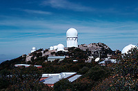 The Kitt Peak National Observatory structures - the Mayall Telescope is housed in the tallest structure. Arizona.