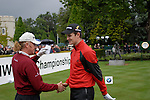 Justin Rose and Miguel Angel Jimenez shake hands before teeing off on the opening hole during the final round of the BMW PGA Championship at Wentworth Club, Surrey, England 27th May 2007 (Photo by Eoin Clarke/NEWSFILE)