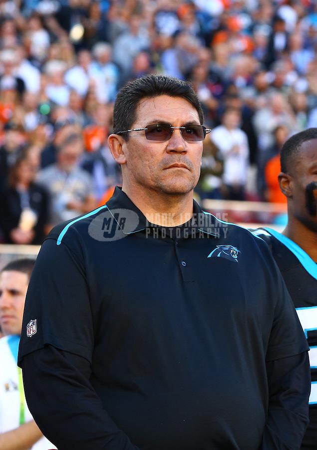 Feb 7, 2016; Santa Clara, CA, USA; Carolina Panthers head coach Ron Rivera against the Denver Broncos during Super Bowl 50 at Levi's Stadium. Mandatory Credit: Mark J. Rebilas-USA TODAY Sports
