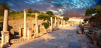 Curetes Street (Priest Street)  that runs through the centre of Ephesus. Ephesus Archaeological Site, Anatolia, Turkey.