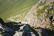 The rocky summit of Mount Flume in the White Mountains of New Hampshire USA during the summer months.