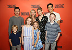"""Back row: Brad Heberlee, Samantha Mathis, Susannah Flood, Kim Fischer  Front row: Harrison Fox, Maren Heary, Casey Hilton, Ryan Foust during the Second Stage Theater's """"Make Believe"""" cast photo call at the Second Stage Theatre Theatre on July 23, 2019 in New York City."""