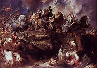 Peter Paul Rubens 1577-1640.  Die Amazonenschlacht Eichenholz.