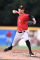 Pitcher Danny Dopico (29) of the Kannapolis Intimidators delivers a pitch in a game against the Greenville Drive on Wednesday, July 12, 2017, at Fluor Field at the West End in Greenville, South Carolina. Greenville won, 12-2. (Tom Priddy/Four Seam Images)