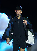 Novak Djokovic of Serbia enters the court his round robin match against Marin Cilic of Croatia <br /> <br /> Photographer Rob Newell/CameraSport<br /> <br /> International Tennis - Nitto ATP World Tour Finals Day 6 - O2 Arena - London - Friday 16th November 2018<br /> <br /> World Copyright &copy; 2018 CameraSport. All rights reserved. 43 Linden Ave. Countesthorpe. Leicester. England. LE8 5PG - Tel: +44 (0) 116 277 4147 - admin@camerasport.com - www.camerasport.com