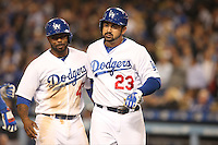05/26/15 Los Angeles, CA: Los Angeles Dodgers  Adrian Gonzalez #23 and  Howie Kendrick #47 during an MLB game played at Dodger Stadium between the Los Angeles Dodgers and the Atlanta Braves. The Dodgers defeated the Braves 8-0.