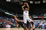 03 March 2016: Duke's Azura Stevens (11) shoots over Virginia's Lauren Moses (left). The Duke University Blue Devils played the University of Virginia Cavaliers at the Greensboro Coliseum in Greensboro, North Carolina in the Atlantic Coast Conference Women's Basketball tournament and a 2015-16 NCAA Division I Women's Basketball game. Duke won the game 57-53.