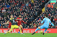 1st February 2020; Anfield, Liverpool, Merseyside, England; English Premier League Football, Liverpool versus Southampton; Mohammed Salah of Liverpool beats Alex McCarthy of Southampton but sees his effort ruled out for offside