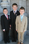 Ben Noonan, Eoghan Ryan and Conor Gavin at the Scoil Aonghusa Communion in St.Peters Church...Photo NEWSFILE/Jenny Matthews.(Photo credit should read Jenny Matthews/NEWSFILE)....This Picture has been sent you under the condtions enclosed by:.Newsfile Ltd..The Studio,.Millmount Abbey,.Drogheda,.Co Meath..Ireland..Tel: +353(0)41-9871240.Fax: +353(0)41-9871260.GSM: +353(0)86-2500958.email: pictures@newsfile.ie.www.newsfile.ie.FTP: 193.120.102.198.