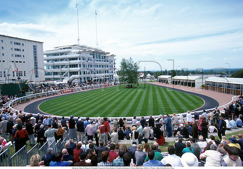 General View of Epsom Parade Ring and Grandstand, Vodafone Epsom Ferby Meeting, 000610. Photo: Glyn Kirk/Action Plus...2000.horse racing.0718.equestrian sports.racecourses racecourse.venue venues