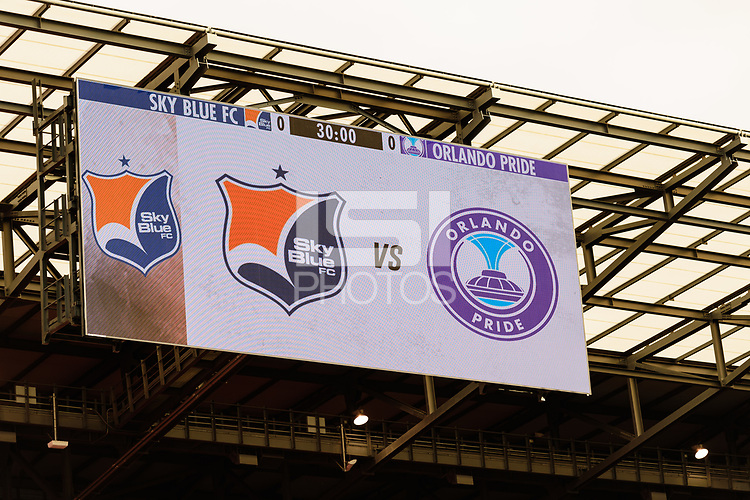 HARRISON, NJ - SEPTEMBER 29: Preview sign during a game between Orlando Pride and Sky Blue FC at Red Bull Arena on September 29, 2019 in Harrison, New Jersey.