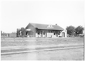 West side of AT&amp;SF depot in Santa Fe, NM.<br /> AT&amp;SF  Santa Fe, NM  Taken by Bradfield, Wesley - ca 1920