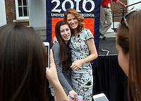 Actress Sarah Drew gave the keynote address during Valedictory Exercises Friday at the University of Virginia in Charlottesville, Va. Photo/Andrew Shurtleff