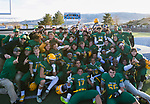 The Bishop Manogue Miners celebrate their 42-34 win over the Arbor View Aggies in the NIAA 4A State Semi-Final football game played at McQueen High School on Saturday, Nov. 24,2018.