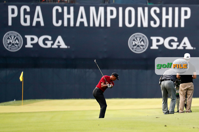 Tiger Woods (USA) plays his second shot on the 18th hole during the final round of the 100th PGA Championship at Bellerive Country Club, St. Louis, Missouri, USA. 8/12/2018.<br /> Picture: Golffile.ie | Brian Spurlock<br /> <br /> All photo usage must carry mandatory copyright credit (© Golffile | Brian Spurlock)