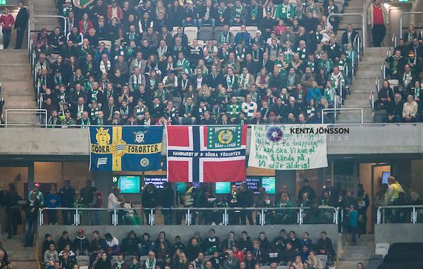 Stockholm 2014-11-02 Fotboll Superettan Hammarby IF - J&ouml;nk&ouml;pings S&ouml;dra IF :  <br /> En norsk flagga h&auml;nger p&aring; Hammarbysupportrarnas l&auml;ktare under matchen mellan Hammarby IF och J&ouml;nk&ouml;pings S&ouml;dra IF <br /> (Foto: Kenta J&ouml;nsson) Nyckelord:  Superettan Tele2 Arena Hammarby HIF Bajen J&ouml;nk&ouml;ping S&ouml;dra IF J-S&ouml;dra supporter fans publik supporters flagga Norge norsk