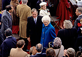 United States President George H.W. Bush and first lady Barbara Bush greet guests after he delivered his Inaugural Address following his being sworn-in as 41st President of the United States at the US Capitol on January 20, 1989. <br /> Credit: Howard L.  Sachs / CNP