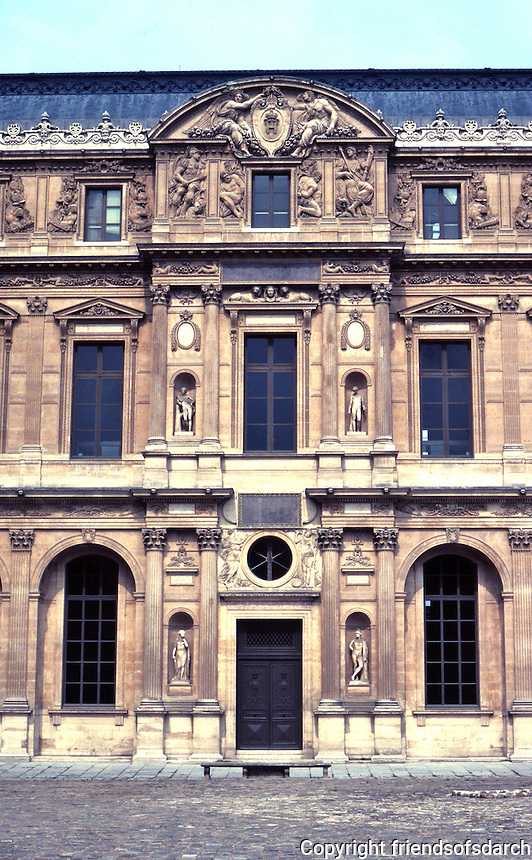 Paris: Louvre--elevation in Cour Carree, 1546. Designed by Pierre Lescot, evidently in 1546, the last year but one of the reign of Francois I. Renaissance facade.