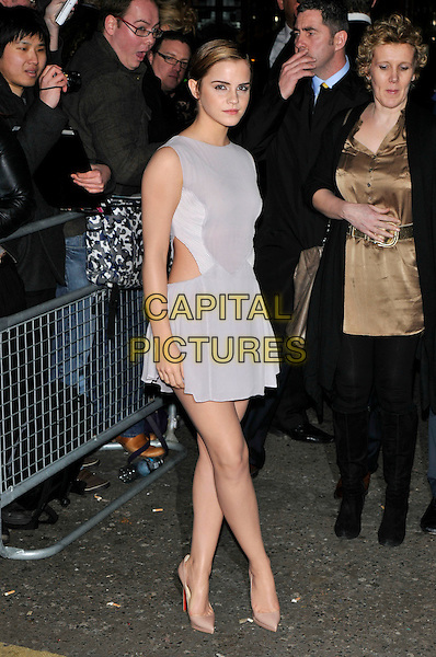 EMMA WATSON.The ELLE Style Awards 2011 at Grand Connaught Rooms, London, England..February 14th, 2011 .full length white grey gray dress sleeveless cut out away side beige nude shoes pointy pointed .CAP/PL.©Phil Loftus/Capital Pictures.