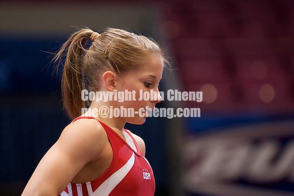 2/29/2008 - Photo by John Cheng.  Tyson American Cup .Day 1 Training Session.Photo by John Cheng - Tyson American Cup 2008 in Madison Square Garden, New York.Shawn Johnson