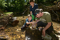 NWA Democrat-Gazette/BEN GOFF @NWABENGOFF<br /> Nickolas Kjartanson (from left), 9, brother Donald Kjartanson, 12, and their dad Robert Kjartanson of Bentonville hunt for crayfish Sunday, May 14, 2017, in the creek at Park Springs Park in Bentonville.