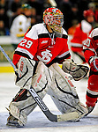 3 January 2009: St. Lawrence Saints' goaltender Kain Tisi, a Junior from Mississauga, Ontario, in action against the University of Vermont Catamounts during the championship game of the Catamount Cup Ice Hockey Tournament at Gutterson Fieldhouse in Burlington, Vermont. The Cats defeated the Saints 4-0 and won the tournament for the second time since its inception in 2005...Mandatory Photo Credit: Ed Wolfstein Photo