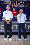 Two of the officials wait for the start of the Big South volleyball match between the Liberty Flames and the High Point Panthers at the Millis Athletic Center on September 23, 2016 in High Point, North Carolina.  The Panthers defeated the Flames 3-1.   (Brian Westerholt/Sports On Film)