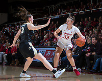 Stanford, CA - January 24, 2020: Hannah Jump at Maples Pavilion. The Stanford Cardinal defeated the Colorado Buffaloes in overtime, 76-68.