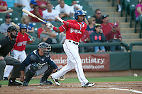 Round Rock Express outfielder Julio Borbon #20 at bat during the Pacific Coast League baseball game against the New Orleans Zephyrs on May 2, 2012 at The Dell Diamond in Round Rock, Texas. The Express defeated the Zephyrs 10-5. (Andrew Woolley / Four Seam Images)