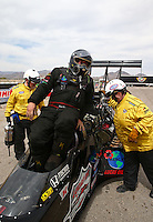 Mar 29, 2014; Las Vegas, NV, USA; NHRA top fuel driver Scott Palmer during qualifying for the Summitracing.com Nationals at The Strip at Las Vegas Motor Speedway. Mandatory Credit: Mark J. Rebilas-