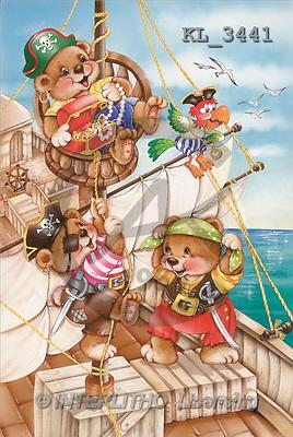 Interlitho, Michele, CUTE ANIMALS, paintings, pirate-teddies, treasure(KL3441,#AC#) illustrations, pinturas ,everyday