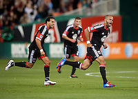 Maicon Santos (29) of D.C. United celebrates his goal at RFK Stadium in Washington DC.   Dallas FC fell to D.C. United, 4-1.