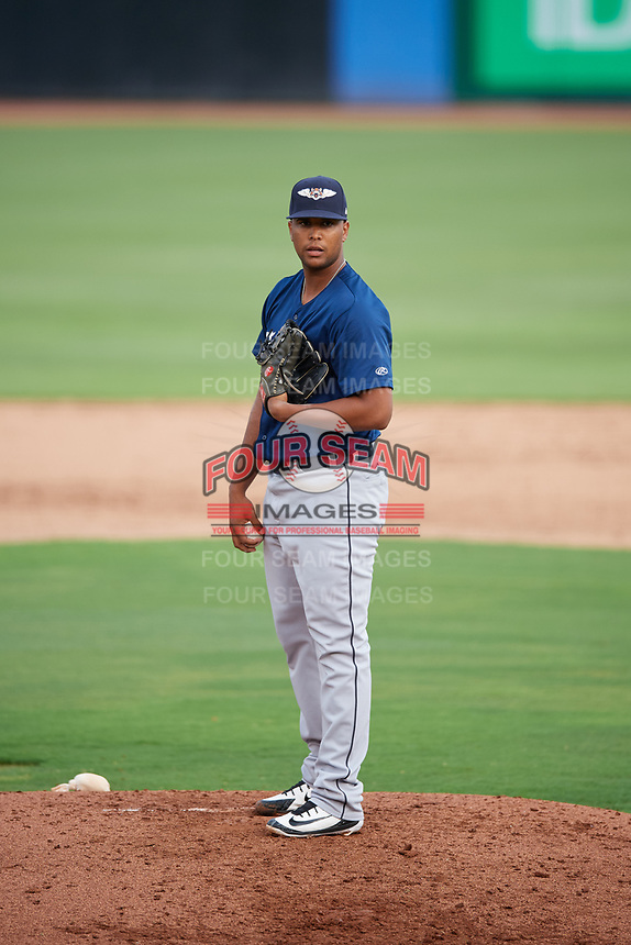 Lakeland Flying Tigers relief pitcher Fernando Perez (28) looks in for the sign during a game against the Dunedin Blue Jays on July 31, 2018 at Dunedin Stadium in Dunedin, Florida.  Dunedin defeated Lakeland 8-0.  (Mike Janes/Four Seam Images)
