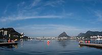 Rio de Janeiro. BRAZIL.  General view of the start at the  2016 Olympic Rowing Regatta. Lagoa Stadium,<br /> Copacabana,  &ldquo;Olympic Summer Games&rdquo;<br /> Rodrigo de Freitas Lagoon, Lagoa. Local Time 08:40:36   Saturday  06/08/2016 <br /> <br /> [Mandatory Credit; Peter SPURRIER/Intersport Images]
