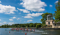 Henley. Berks, United Kingdom. <br /> <br /> S8, Berkshire foreground, Sir Joseph's University and Northeasten University USA pass the, &quot;Temple Island  &quot;Folly&quot; as they compete at the 2017 Henley' Women's Regatta. Rowing on, Henley Reach. River Thames. <br /> <br /> <br /> Saturday  17/06/2017<br /> <br /> <br /> [Mandatory Credit Peter SPURRIER/Intersport Images]