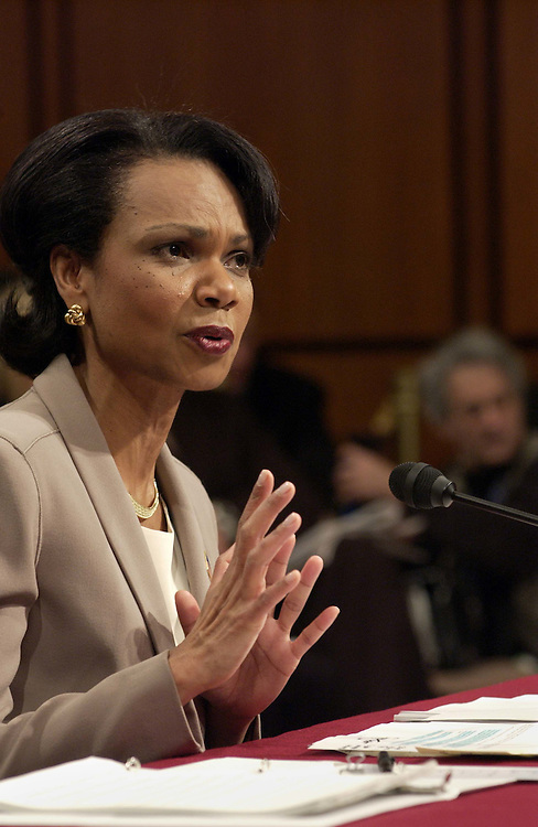 "4/8/04.RICE TESTIFIES BEFORE SEPT. 11 COMMISSION--National Security Adviser Condoleezza Rice responds to questions by Commissioner Richard Ben-Veniste as she testifies before the independent commission investigating the Sept. 11, 2001, terrorist attacks. She defended the White House's handling of the terrorist threat. She insisted that ""there was no silver bullet that could have prevented the 9/11 attacks."".CONGRESSIONAL QUARTERLY PHOTO BY SCOTT J. FERRELL"