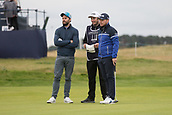 6th October 2017, Carnoustie Golf Links, Carnoustie, Scotland; Alfred Dunhill Links Championship, second round; England's Tyrrell Hatton, winner in 2016, and his amateur partner actor Jamie Dornan on the 18th green on the Championship Links, Carnoustie at the Alfred Dunhill Links Championship